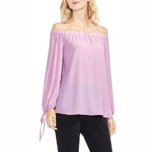 Vince Camuto Pink Off-The-Shoulder Tie-Cuff Top